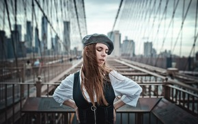 Picture bridge, pose, hair, New York, Brooklyn bridge, takes, bokeh, Natalia Ostrofsky