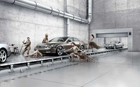 Picture Mercedes Benz Assembly Line, Creative Background, car service modern