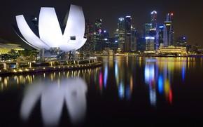 Picture Sea, Lights, Night, The city, Landscape, Singapore
