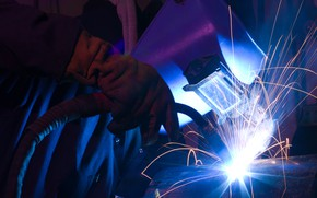 Picture sparks, welder, worker