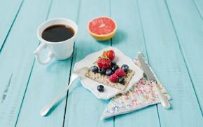 Picture berries, coffee, Breakfast, citrus, bread