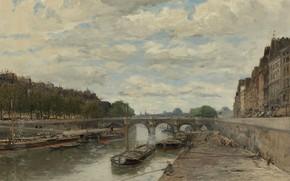 Picture bridge, river, picture, the urban landscape, Frank Boggs, Frank Myers Boggs, Pont-Neuf