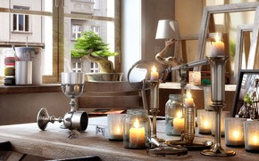Picture tree, candles, LAID-BACK AFTERNOON, table, magnifier