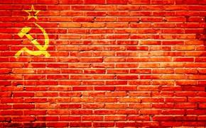 Wallpaper USSR, red bricks, the hammer and sickle, wall, texture, bricks, flag