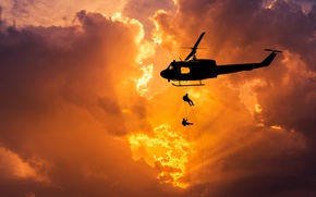 Picture Huey, helicopter, the sky, dawn, UH-1, flight, Bell, silhouette, spinner, bokeh, wallpaper., beautiful background, helicopter, ...