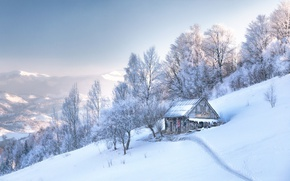 Picture snow, mountains, house, space, Romania