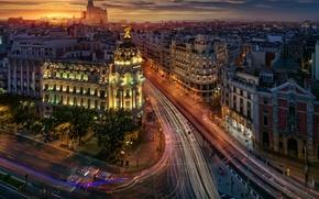 Wallpaper the city, Madrid, street, Spain, the evening, lights