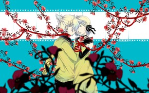 Picture girl, flowers, guy, two, Vocaloid, Vocaloid, Kagamine Len, Kagamine Rin