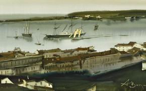 Picture ships, panorama, marine city, Sevastopol., Arusha Vozmus