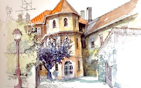 Picture the city, figure, France, home, watercolor, lantern, Belfort