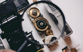Picture Macro, The camera, Mechanism, Gear, Magnifying glass