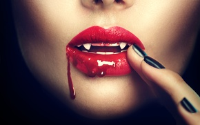 Wallpaper lips, vampire, fingers, bllod