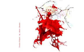 Picture blood, spot, fangs, rod, red eyes, madness, art, torn clothes, vampire, Touhou Project, Flandre Scarlet, …