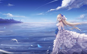 Wallpaper the sky, girl, nature, the bride, Warship Girls