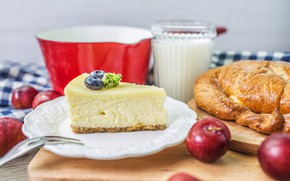 Picture coffee, Breakfast, milk, cakes, bun, casserole