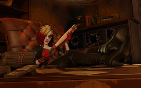 Picture The game, Hair, Gloves, Money, Sitting, Harley Quinn, Game, DC Comics, Money, Harley Quinn, Telltale …