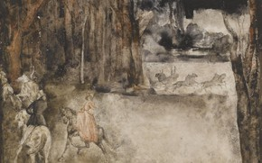 Picture forest, horse, watercolor, coach, 1928, Illustration, Grigory Gluck Man