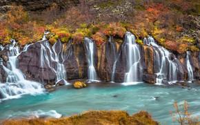 Picture autumn, river, waterfalls, cascade, Iceland, Iceland, Hraunfossar, Hraunfossar