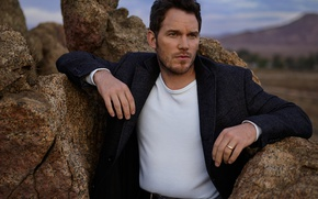 Picture stones, the evening, actor, coat, photoshoot, nature, Vanity Fair, Chris Pratt, Mark Seliger, Chris Pratt