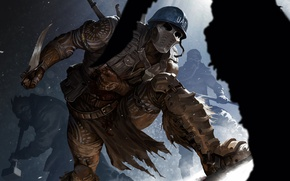 Picture protection, mask, art, soldiers, costume, knife, helmet, fight, mercenary