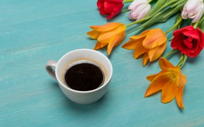 Picture flowers, coffee, tulips