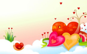 Picture holiday, figure, snail, vector, spring, art, heart, children's