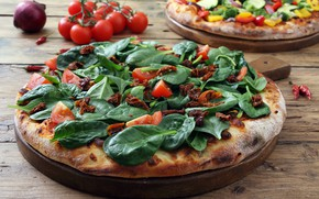 Picture food, pizza, tomatoes-cherry, peppers, pizza, zucchini, vegtariana, spinaci