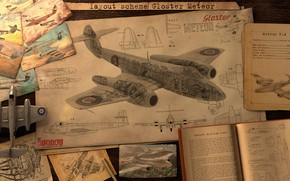Picture the plane, drawings, magazines, layout sheme Gloster meteor