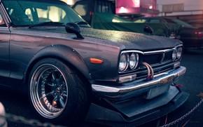 Wallpaper Nissan, GT-R, 2000, Front, Skyline, Rain