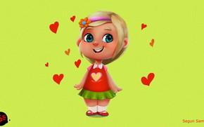 Picture mood, art, girl, hearts, children's, little Girl, according to samson