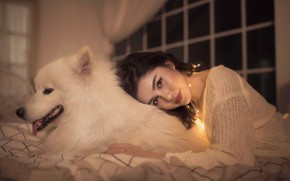 Picture look, girl, smile, mood, dog, friendship, Asian, friends, Samoyed