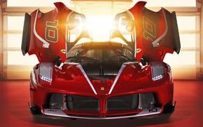 Picture red, lights, door, the hood, Ferrari