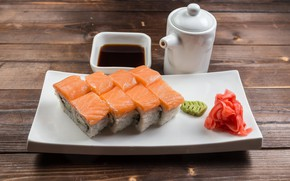 Picture sauce, rolls, ginger, salmon, wasabi