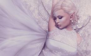 Picture girl, elf, wings, dress, blonde