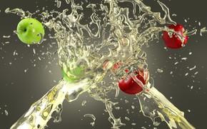 Wallpaper squirt, juice, apples, splash