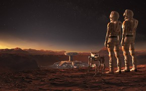 Picture landscape, robot, construction, astronauts, Mars WIRED, Jacek Irzykowski