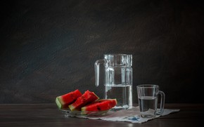 Picture glass, berries, Watermelon, decanter