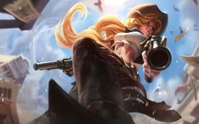 Wallpaper Miss Fortune, Artwork, League Of Legends, LoL, Cowgirl, Boots, Splash, Hat, Miss Fortune, Topic, Braid, ...