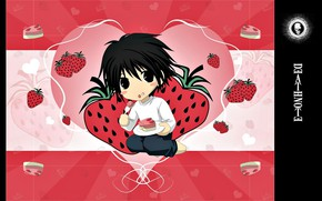 Picture strawberry, sweets, cake, Death Note, Death Note, heart, El, the actual