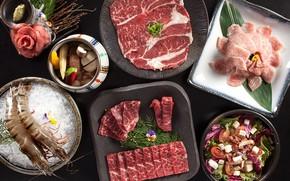 Picture meat, bacon, salad, shrimp, cuts