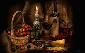 Picture wine, glass, candle, cheese, grapes, still life, corkscrew