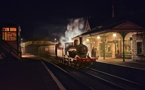 Wallpaper the engine, night, station, England, retro