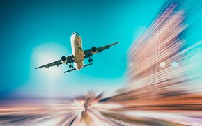 Picture the sky, speed, the plane, the rise, runway, passenger