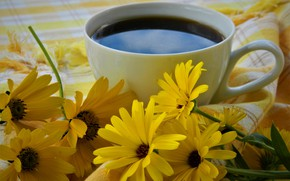 Picture flowers, coffee, Cup, still life