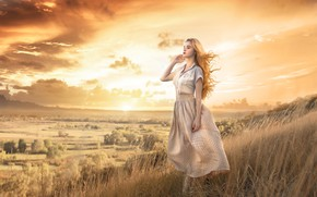 Picture the sky, grass, girl, sunset, mood, hair, view, Damien Prokhorov