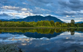 Picture forest, mountains, lake, reflection, Washington, Washington, King County, King County