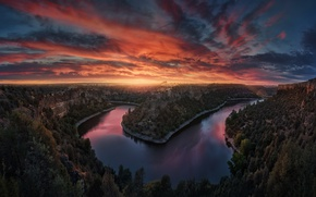 Picture sunset, river, the evening, canyon
