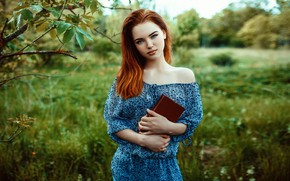 Picture greens, grass, trees, model, portrait, makeup, dress, hairstyle, book, beauty, redhead, nature, posing, bokeh, Mikhail …