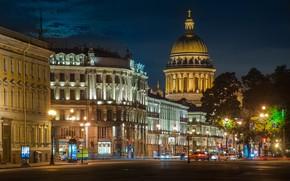 Picture road, night, lights, movement, street, home, lights, Saint Petersburg, Russia