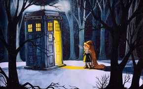 Wallpaper girl, snow, art, winter, winter, TARDIS, figure, Doctor Who, The TARDIS, booth, Doctor Who, forest